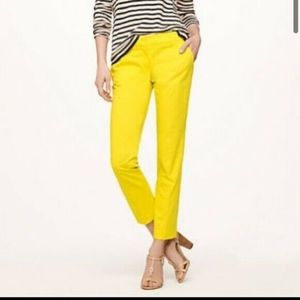 J. Crew Stretch City fit Yellow Cropped Pants